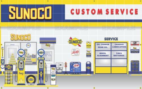 SUNOCO GAS STATION PUMPS SCENE WHOLE WALL MURAL SIGN BANNER GARAGE ART 5/' X 8/'