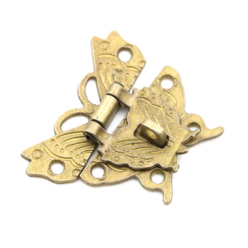 Retro Chic Butterfly Latch Catch Jewelry Wooden Box Lock Hasp Pad Chest LocPRUK