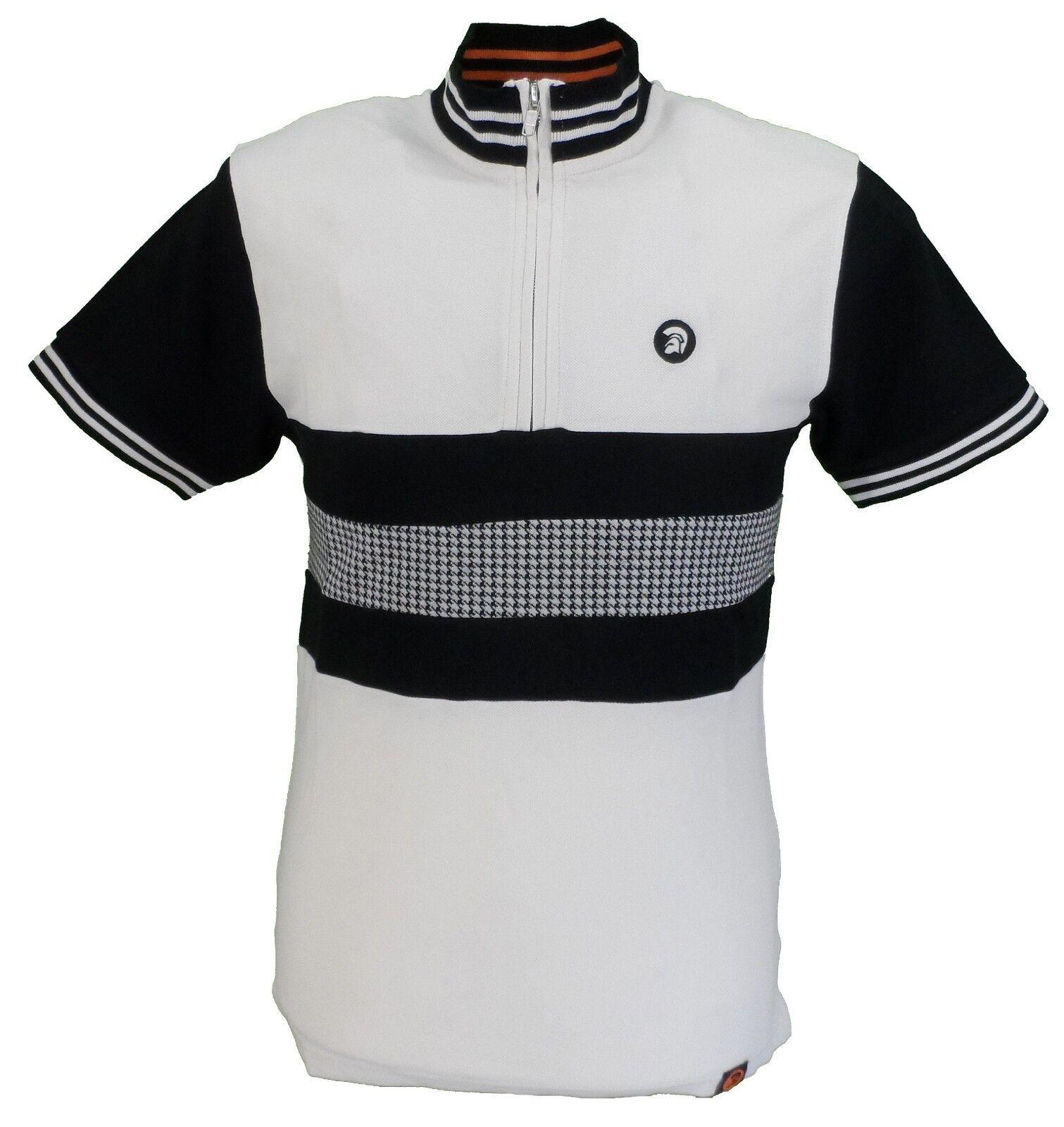 Trojan Records Mens Ecru Houndstooth Front Cycling Shirt