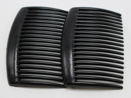 20 Black Plastic Smooth Hair Clips Side Combs Pin Barrettes 66X44mm for Ladies