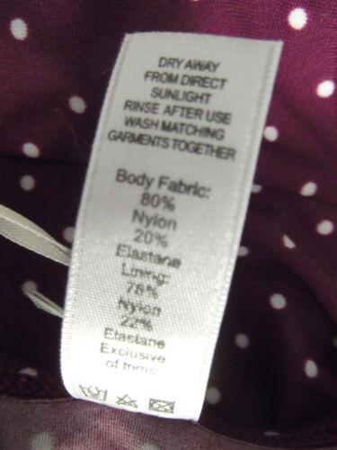 New Figleaves Size 8 Polka Dot Frill Bikini Briefs Bottoms Dark Purple white