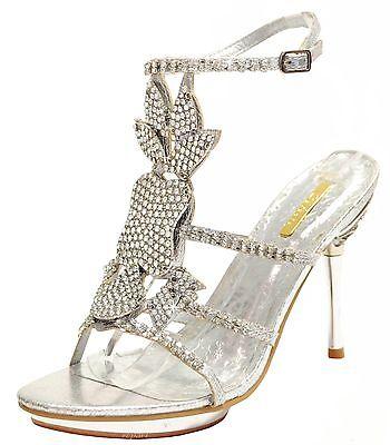 New women's shoes evening stilettos rhinestones party wedding prom silver