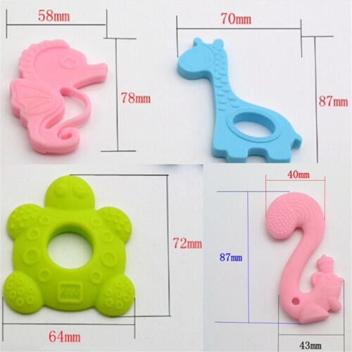 Baby Teether Teething Collares Pacifier Clips Chew Toy Silicone BPA FREE RULD S