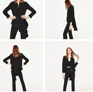 Jacket Zara Størrelse Zipper Frakke Blazer Lille Ny Hems Black Asymmetrisk PfRdXwnpq