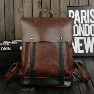 bf32863f1b Image is loading Vintage-Faux-Leather-Mens-Laptop-Backpack-Rucksack- Messenger-