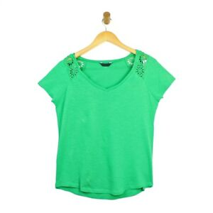 Womens-Ladies-Green-Short-Sleeve-V-Neck-Summer-Top-with-Floral-Lace-Sleeves