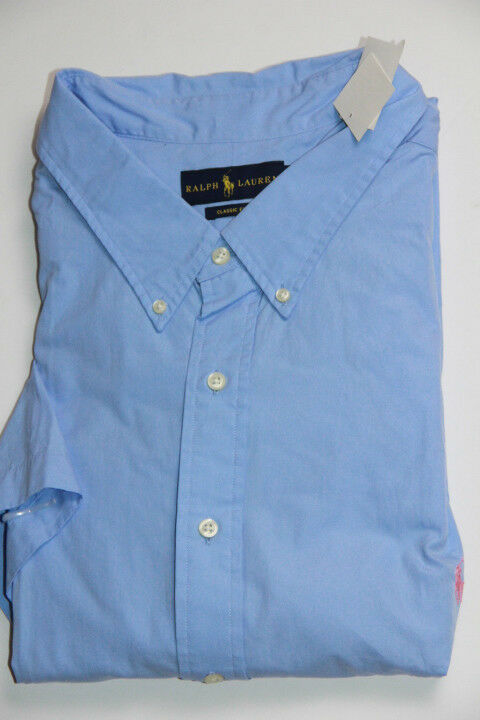 Polo Ralph Lauren Blau  Shirt Small Pony  3XB 3X Big Classic Fit Short Sleeves