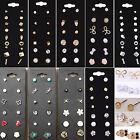 6 Pairs/Set Women Korean Flower Crystal Rhinestone Earrings Lady Ear Stud TOP
