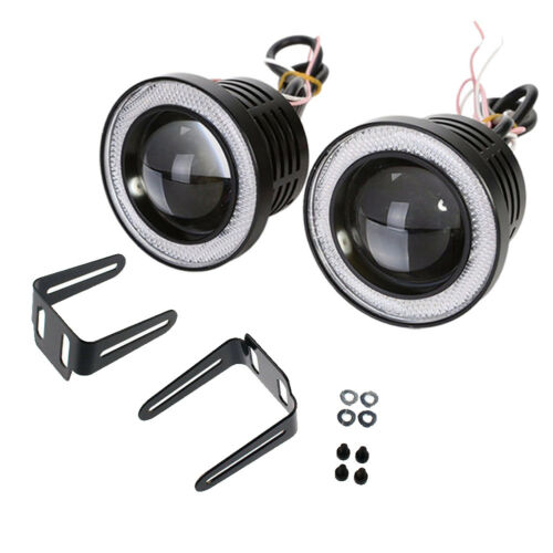 Universal 3.5INCH Led Fog Light Projector COB w// Red Angel Eyes Halo Ring 12V