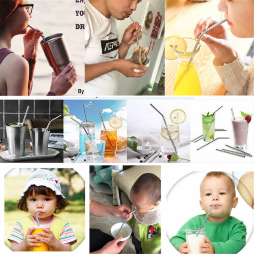 Reusable 10Pcs Drinking Straw Stainless Steel Metal Straws Wide Straw Smoothies