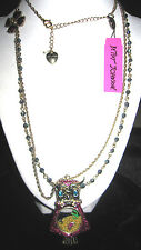 BETSEY JOHNSON FLIGHT OF FANCY OWL WITH CHARMS LONG NECKLACE