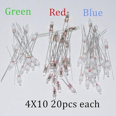 60pcs Neon Indicator Light Sign Bulbs 4*10mm RED Green Blue 20pcs Each Mix Lamps