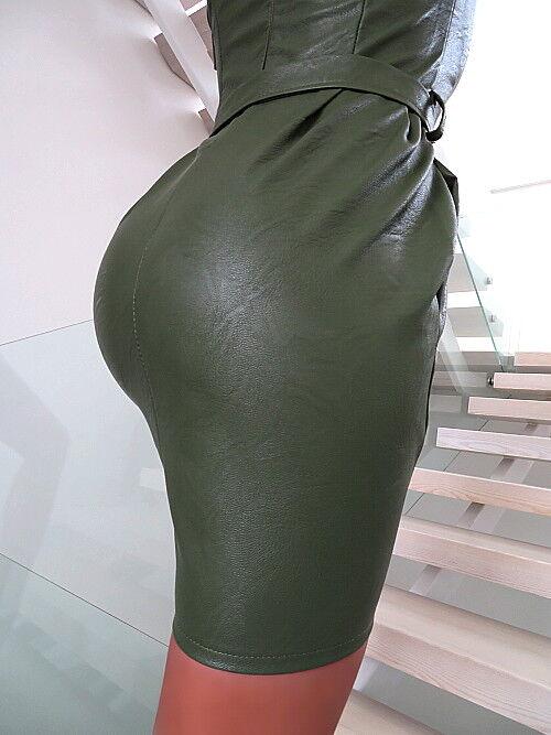 DAMEN KLEID LEDER OPTIK NEU MADE MADE MADE IN ITALY FASHION U16 LEATHER LOOK GREEN DRESS M dea3be