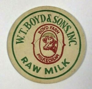 Vintage-Milk-Bottle-Cap-W-T-Boyd-amp-Sons-Inc-Boyd-Farm-Raw-Milk-amp-Cream-Dairy