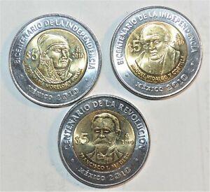 2010-MEXICO-BIMETALLIC-5-PESOS-coins-COMMEMORATIVE-set-lot-collection-BU