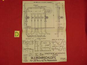 Schema Technische Daten Bleirohrschleife Für 25m/m U.40m/m Messstelle Geprüft 27 Alte Berufe Antiquitäten & Kunst
