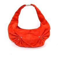 YSL YVES SAINT LAURENT authentic orange suede handbag hobo silver HW small