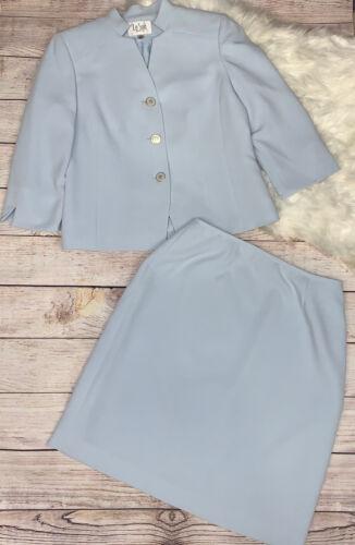 Le Suit 2pc Light Blue Textured Blazer Skirt Suit