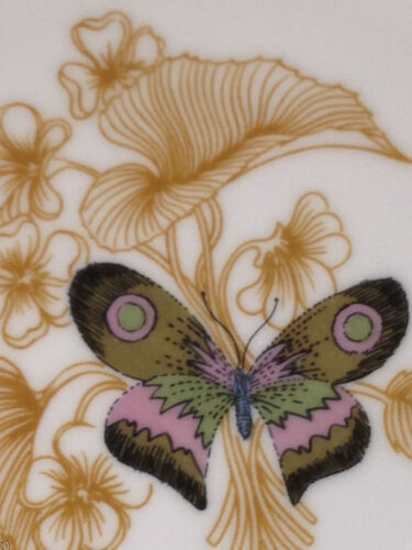 """FITZ /& FLOYD FIT53 SALAD PLATE 7 5//8/"""" GREEN /& PINK BUTTERFLY FLOWERS GOLD TRIM"""