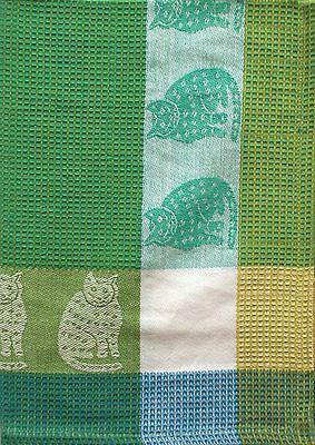 Cat Kitchen TowelCotton Waffle WeaveGreen Yellow BrownPictorial