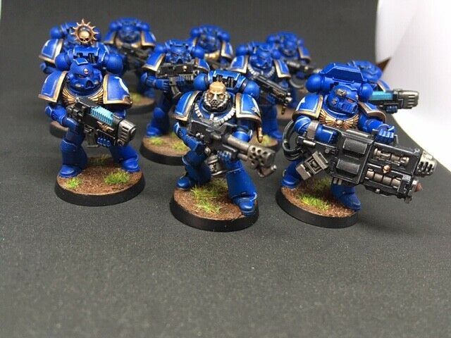TACTICAL SQUAD ULTRAMARINES SPACE MARINES WARHAMMER 40k painted