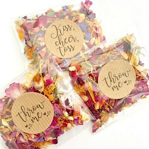 Natural-Biodegradable-Wedding-Confetti-Dried-Petal-Bags-PACKETS-Red-Blue-Ivory