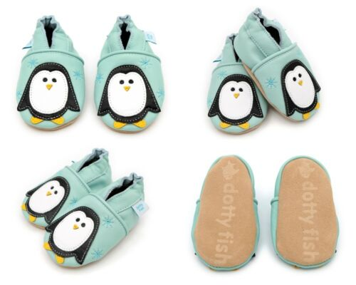 Dotty Fish Unisex Soft Leather Baby and Toddler Shoes With Non-slip Suede Soles
