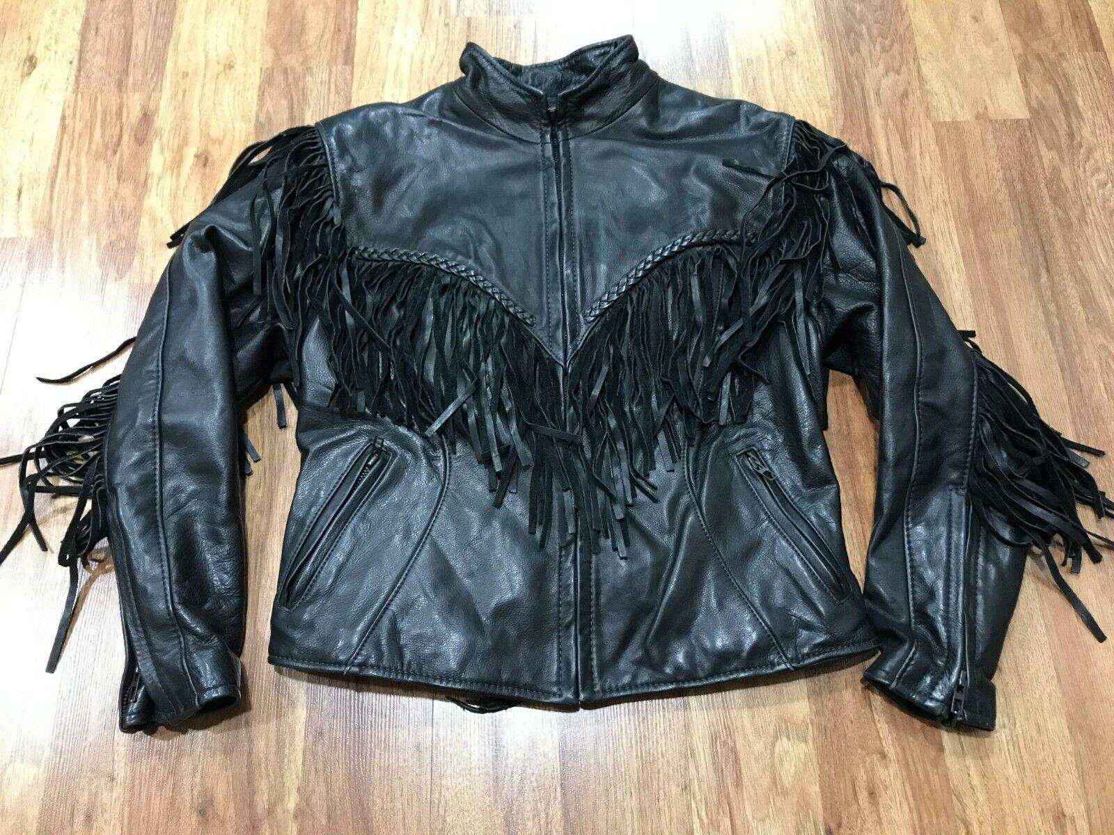 WOMENS - Vtg Motorcycle Biker Fringed Leather Jac… - image 1