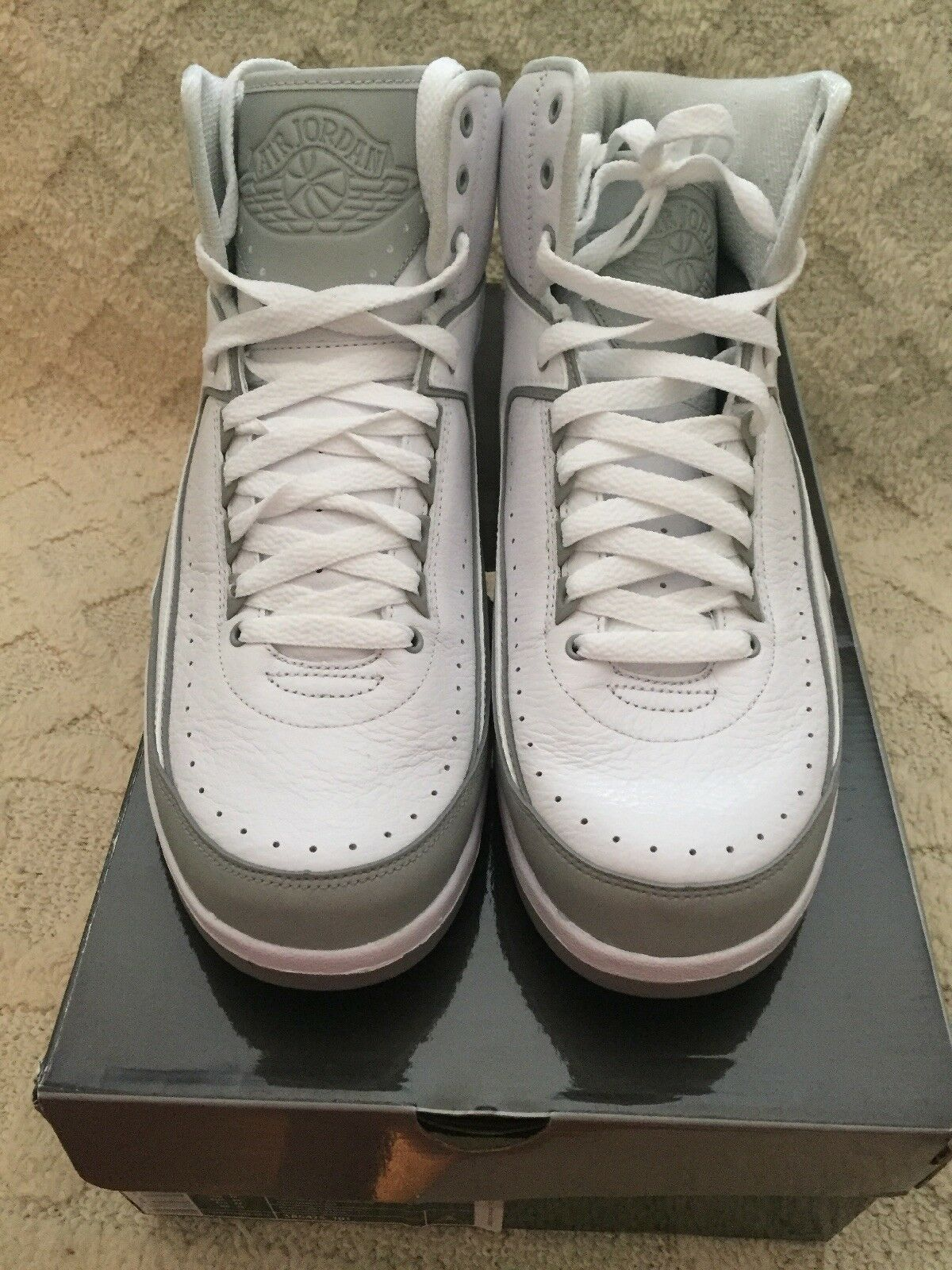 Nike Air Jordan 2 Retro White/Metallic Silver-Ntrl Grey 385475-101 SZ 11