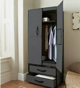 DELUXE-DOUBLE-CANVAS-WARDROBE-WITH-OPENING-DOORS-DRAWER-BLACK-HIGH-QUALITY-NEW