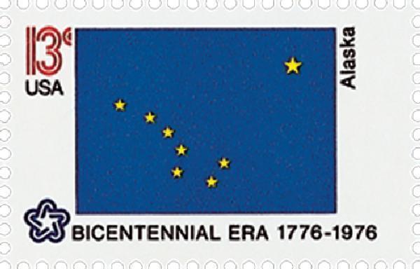 1976 13c Alaska State Flag, Bicentennial Era Scott 1681