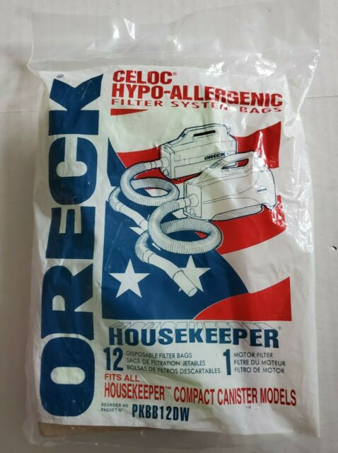 NEW ORECK HOUSEKEEPER CELOC HYPO ALLERGENIC FILTER SYSTEM 12 BAGS PKBB12DW