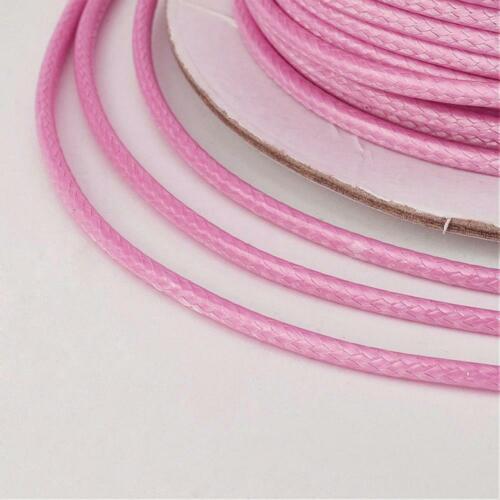 LOT DE 10M FIL CORDON POLYESTER CIRÉ 1MM ROSE sautoirs bracelets colliers C228A
