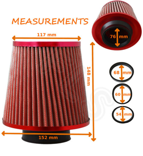 Land Rover RED  UNIVERSAL FREE FLOW PERFORMANCE AIR FILTER /& ADAPTERS