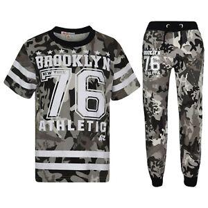 3cffd909a4c Kids Boys Designer Brooklyn 76 Camouflage T Shirt Tops Trouser ...