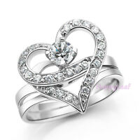 Heart Shaped Ring 2in1 Detachable 2ct White Russian Cubic Zirconia 7.5 Bridal