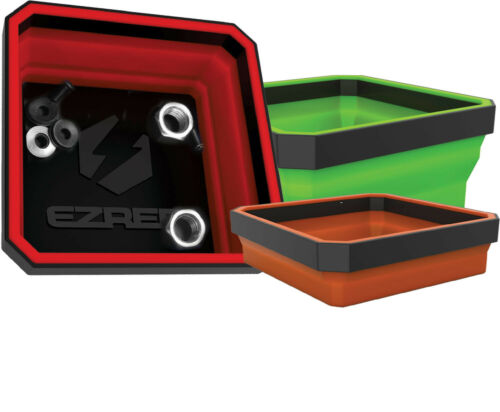 """EZ RED 3pc 4/"""" Square Collapsible Magnetic Parts Tray Set #EZTRAYCLR"""