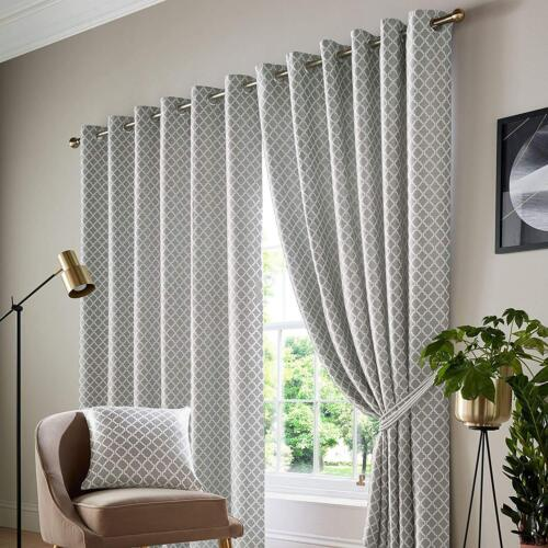 COTSWOLD Soft Jacquard Fully Lined Eyelet Ring Top Or Taped Top Header Curtains