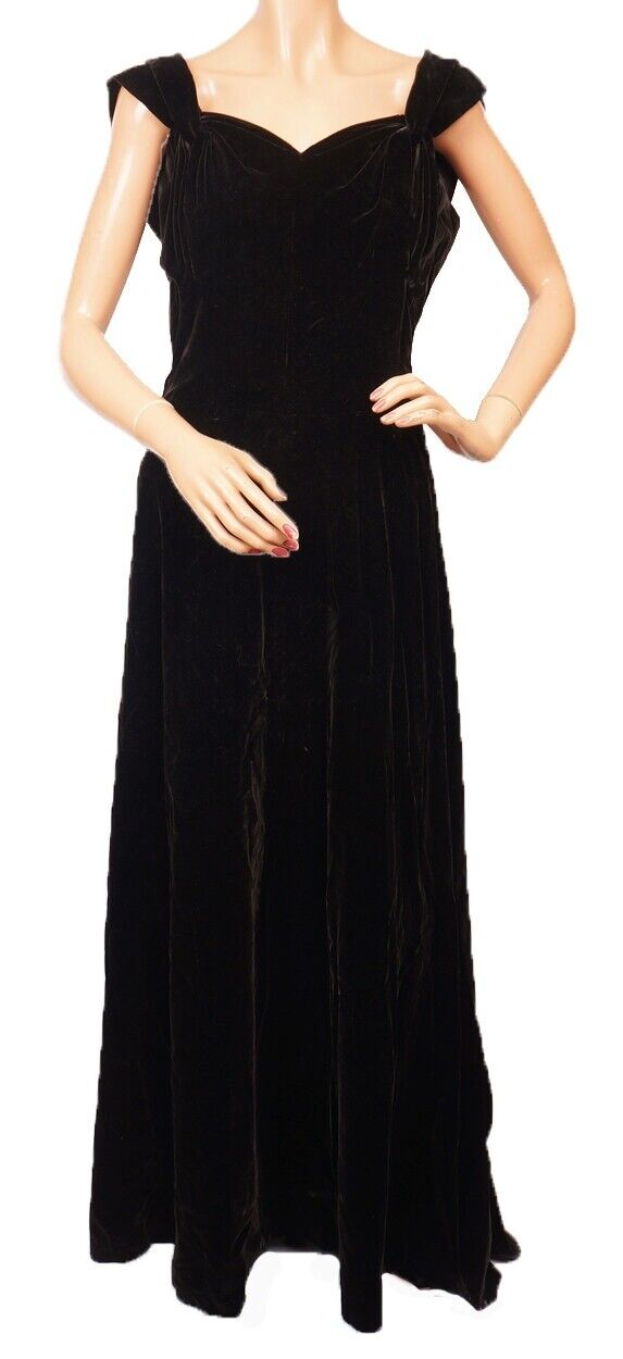 Vintage Molyneux Black Velvet Evening Gown 1930s … - image 2