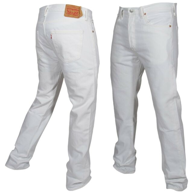 492a62f23d68 Levis 501 Button Fly Jeans Original Fit Mens Many Sizes White New With Tags!