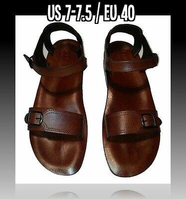 New Men Brown Biblical Sandals Flip Flop Shoes 100% Italian Leather US Size 6-12