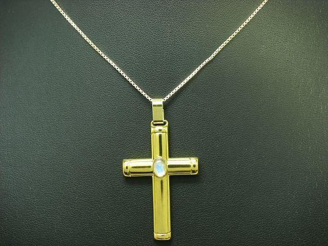 925 Sterling silver Kette & Anhänger mit Mondstein Besatz   vergoldet   44,0cm