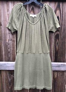 d7b66cc31f8915 Ann Taylor LOFT Olive Green Merino Wool Short Sleeve Sweater Dress ...