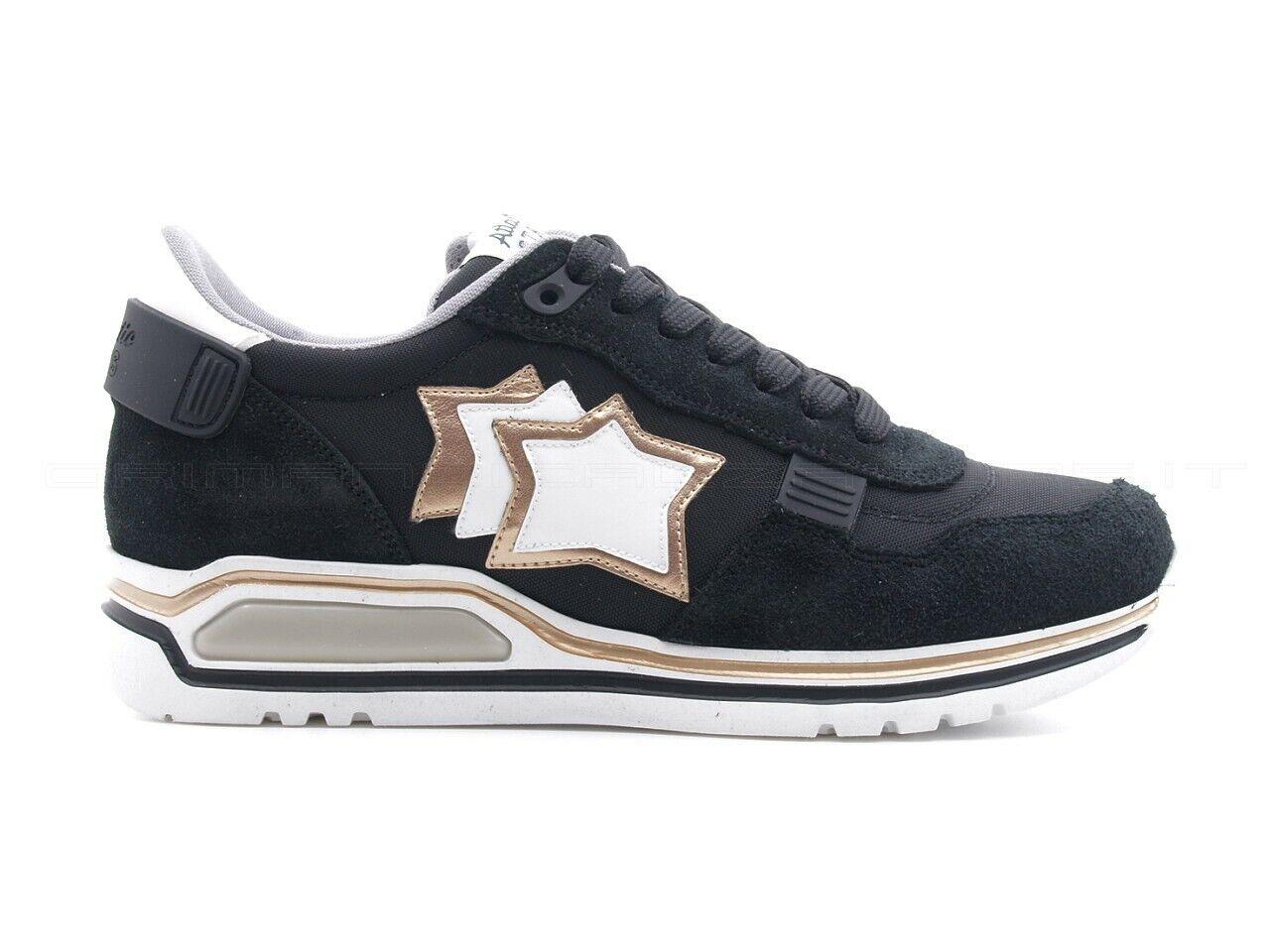 Schuhe Atlantic Stars Damen Schwarz, Sterne Gold Weiß, Sohle XL, SHAKA-NN-J06