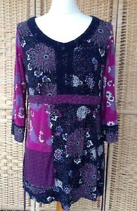New M/&S Per Una Floral Lace Sleeve Detail Natural Tunic Top Sz UK  14