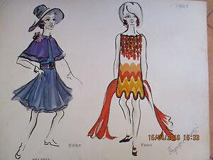 Aquarelle dessin de mode ann e 60 raymond solari peinture proven ale art price 1 ebay - Dessin annee 60 ...