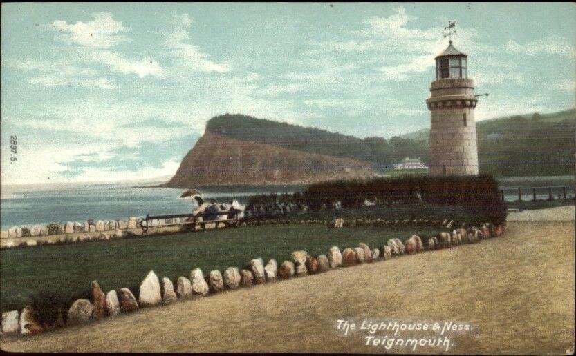 Teignmouth UK Lighthouse c1910 Postcard