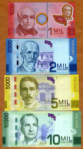 SET-Costa-Rica-1000-2000-5000-10000-Colones-2009-2017-P-274-275-276-277-UNC