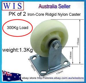 "2x125(5"")x45mm Iron-Core Rigid Nylon Castor,trolley wheels,300Kg Load each-20198"