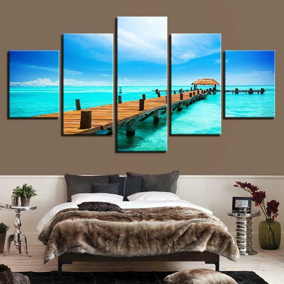 Vacation Boardwalk Ocean 5pcs Poster Canvas Wall Decor Home Decor Canvas Print